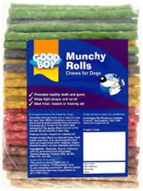 DOG TREAT CHEWS GOOD BOY HEALTHY TEETH MUNCHY CHEWS ROLLS PACK OF 100 ASSORTED